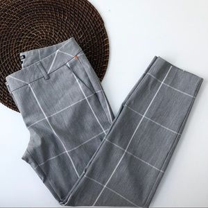 Express Pants Gray Windowpane Columnist Ankle 4